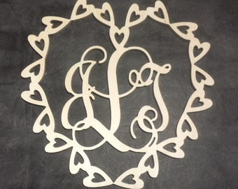 14 inch Multiple Heart Border Connected Vine Monogram