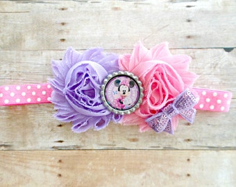 Minnie Mouse Pink and Purple Polka Dot Shabby Headband, Minnie Mouse baby Headband, Minnie Mouse baby gift