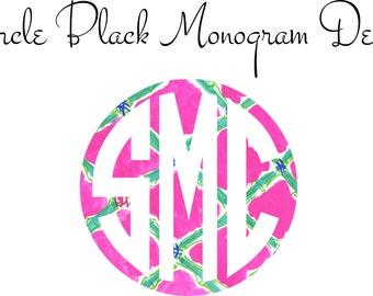 Monogram Decal, Car Monogram, Circle Black  Monogram Decal New Patterns
