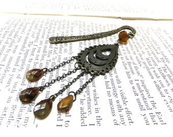 Bohemian Beaded Bookmark, Bronze Bookmark, Brown Bookmark, Beaded Bookmark, Boho Bookmark, Booklovers, Readers, Student Gift, Teachers Gift