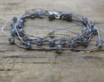Long labradorite necklace. Minimalist labradorite necklace on silk thread.