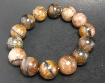 """Andalusite Chiastolite Bracelet With 13mm Round Beads - 7.5"""""""