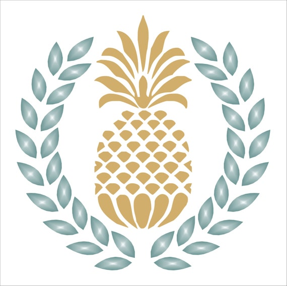 Pineapple Laurel Wreath Stencil 6 Sizes Available