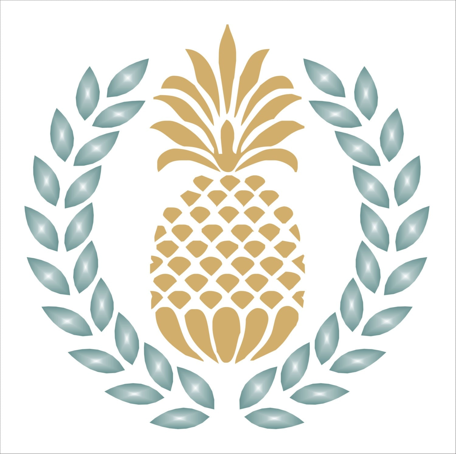 Pineapple Laurel Wreath STENCIL 6 sizes available  Cute Pineapple Stencil