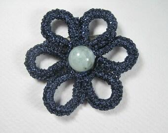 Flower brooch - dark blue tatted brooch - lace flower pin