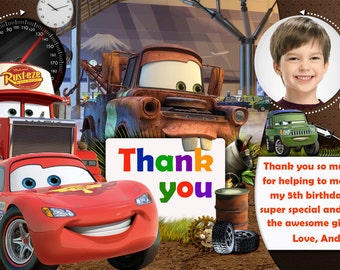Disney Cars thank you card, Disney Cars birthday card, cars thank you card - Digital file