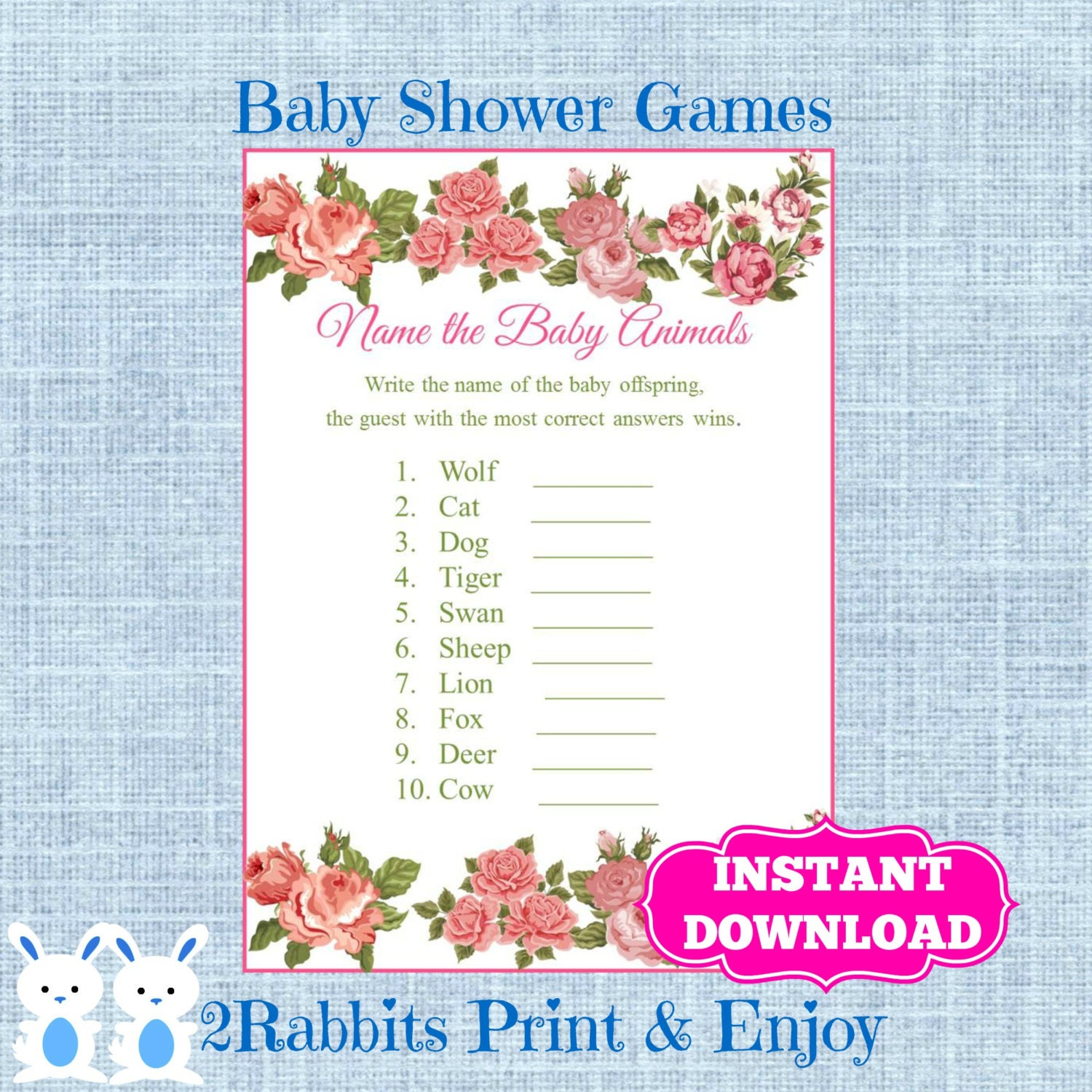 Baby Shower Game Name The Baby Animal: Floral Baby Shower Baby Animal Game Plus Key Answer-Flower