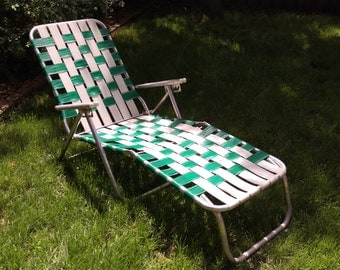 SALE Vintage Tube and Green and White Strap Garden/Lawn Lounge Chair