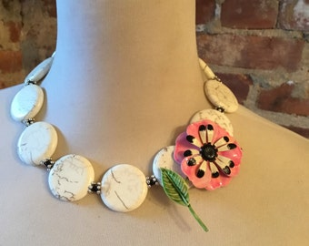 Bold White Turquoise Howlite Statement Necklace with Vintage Flower Brooch
