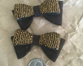 Vintage Beaded Bow Shoe Clips