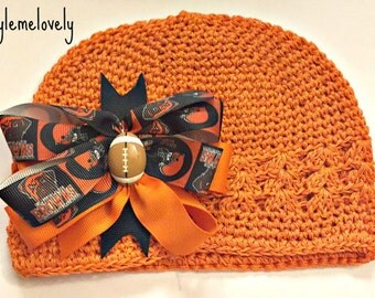 Cleveland Browns Baby Girl Boutique Bow Crocheted Hat