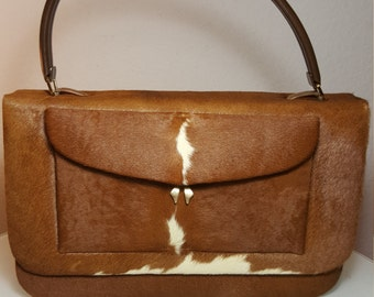FREE  SHIPPING  1950's Cowhide Leather Handbag