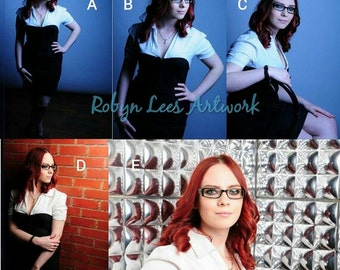 Robyn Lees Red Head & Glasses Hand Signed Model Prints. Modeling Photograph Options #3