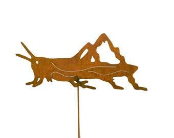 Grasshopper Metal Yard Stake, Garden Art GS86
