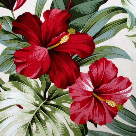 Fabric Red Hibiscus Floral On Cream Tropical Hawaii