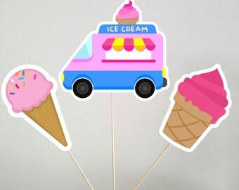 Ice Cream Party Centerpiece Sticks