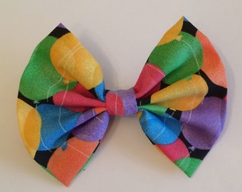 Balloon Hair Bow, Colorful Fabric Hair Bow