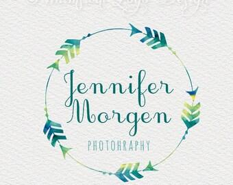Wreath arrows Logo Design Premade Photography Logo  Watermark Design, Ready-made Photography Logo -  Boutique  Logo - watercolor logo  232