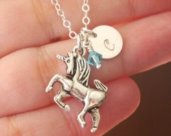Unicorn Necklace, Personalized Unicorn Necklace Necklace, Little Girl Necklace, Birthstone Initial necklace, Cute Gifts Girls, Fairy Tale
