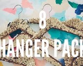Multiple Sequin Fancy Hangers - 8 pack in gold | Wedding Dress Hanger. Boutique Hanger. Bridal Hanger. Bridal Party Hangers.