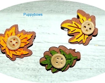 Puppy Bows ~FALL AUTUMN leaf barrette dog bow multi colors ~USA seller