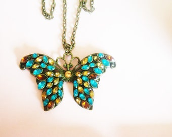 Large Butterfly Necklace / Butterfly Necklace /Turquoise Necklace / Amber Necklace / Rhinestone Butterfly Necklace / Rhinestone Jewelry