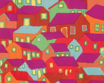 SHANTY TOWN Summer Red by Brandon Mably for Kaffe Fassett Collective Sold in 1/2  yard increments