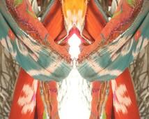 Orange bohemian scarf,gypsy flower scarf,ethnic fabric scarf,ikat batik scarf, unique scarf design,gift for lady,hippie scarf,