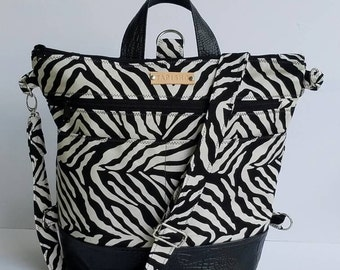Convertible Backpack Purse/Convertible Tote Bag/Canvas Messenger Bag/Vegan leather Bag/Zippered Crossbody Bag/Double Zip Bag/Back to School