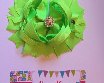 Neon Lime Green Over the Top Hair Bow