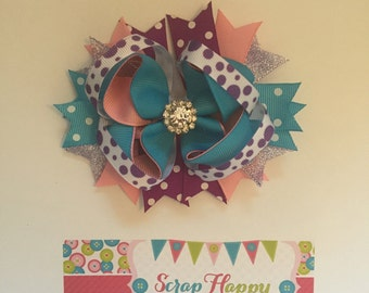 Pink, Purple, and Turquoise Polka Dots Over the Top Hair Bow
