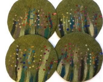 Handfelted Seat Cushion with flowers and grass, moss green