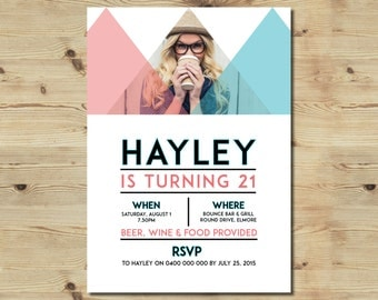 Custom Designed Birthday Invitation - Geometric - 21st - 18th - Party Invitation
