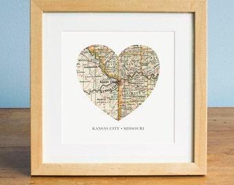 Kansas City Map Kansas City Heart Map Missouri Map Art Vintage Map