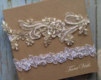 Wedding garter set,White and gold Garter,Rhinestone white Garter, Bridal garters gold edge,bridal garter,Floral lace garter,Garter Set