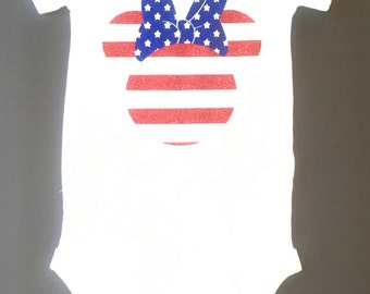 4th of July Baby Bodysuit, Stars and Stripes Baby Bodysuit, Mouse Flag Iron On