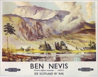1950's British Rail Ben Nevis Travel A3 Poster Reprint