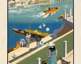 1920's Hampton Court Tram Poster A3/A2 Print