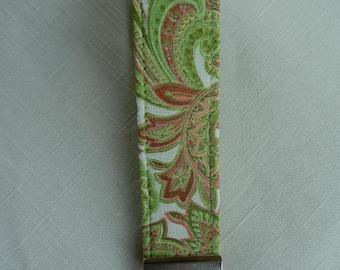 Green Paisley Key fob, Key chain, Wristlet, Camera Strap, Flash drive holder