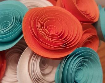 Orange Paper Flower Bouquet, Orange Wedding Flowers, Teal and Orange Paper Flowers, Orange Centerpiece, Teal Centerpiece, Orange Wedding