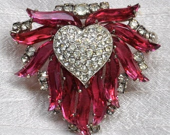 Vintage 1960s Rhinestone Heart Pin, Signed Austria