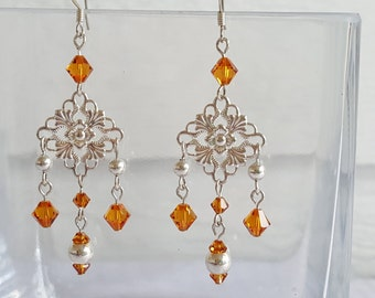 Silver Dangle Earrings with Swarovski Crystals