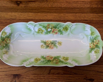 Antique German Long Floral China Serving Dish