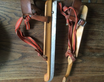 Vintage 30's  wood ice skates made in the Netherlands