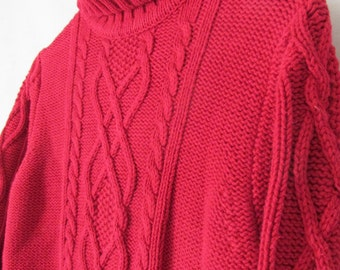 RED Chunky Cable Knit Sweater Red Turtleneck Sweater sz M Womens Red Clothing