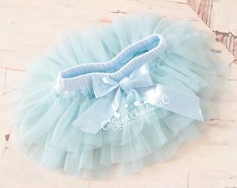 Baby Blue TUTU Bloomers,Ruffles All Around Bloomer,Chiffon Ruffle Diaper Cover,Newborn Photo Prop,Baby Bloomers,Baby TUTU Skirt