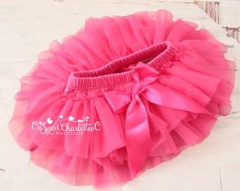 Baby Hot Pink TUTU Bloomers,Ruffles All Around Bloomer,Chiffon Ruffle Diaper Cover,Newborn Photo Prop,Baby Bloomers,Baby TUTU Skirt