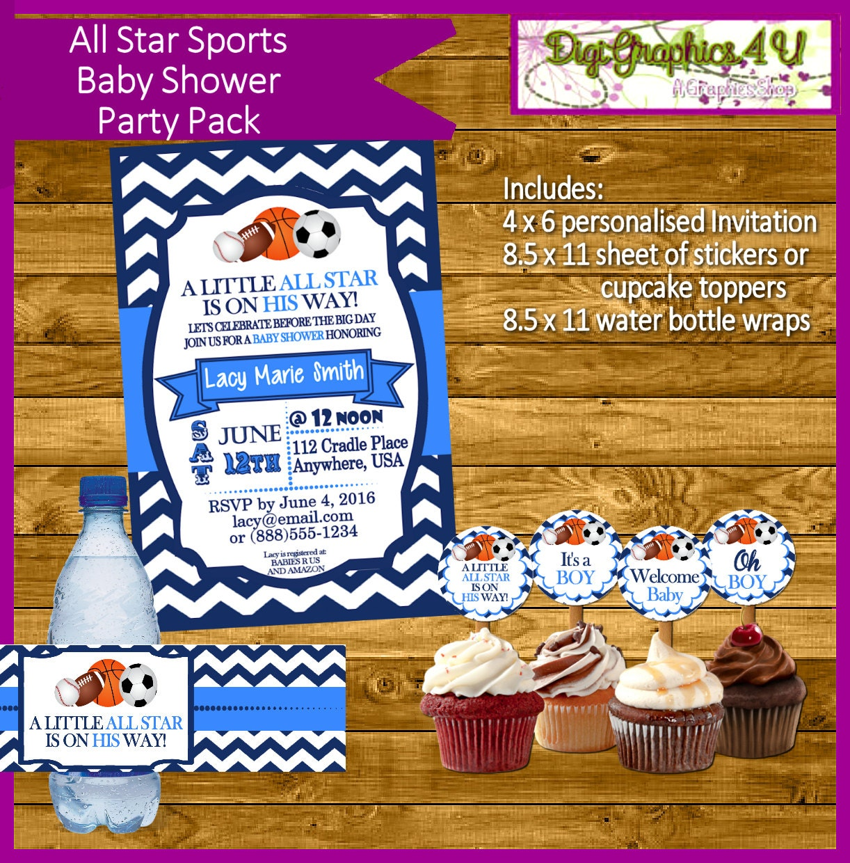 sports all star baby shower party pack by digigraphics4u on etsy