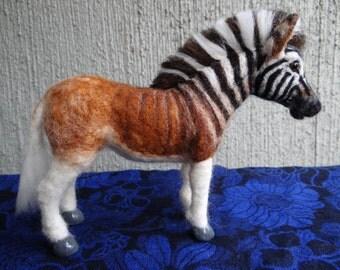Needle Felted Wool Animal  Quagga by Carol Rossi Zebra