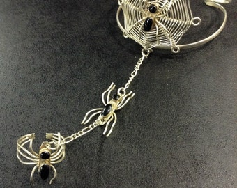 Silver spider bangle and ring
